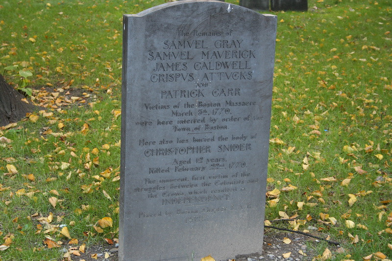 Granary Burial Ground. Marker of Boston Massacre victims.