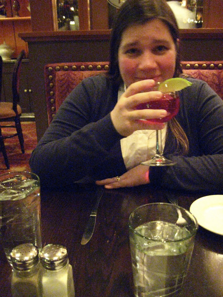 Rebecca has some cranberry juice at Stephanie's.