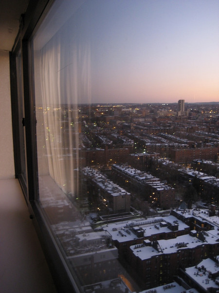 View to the south of Boston from our hotel room.