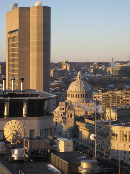 View of the Christian Science buildings from our hotel room.