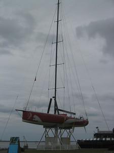 Racing Sailboat on HarborWalk at the Fan Pier