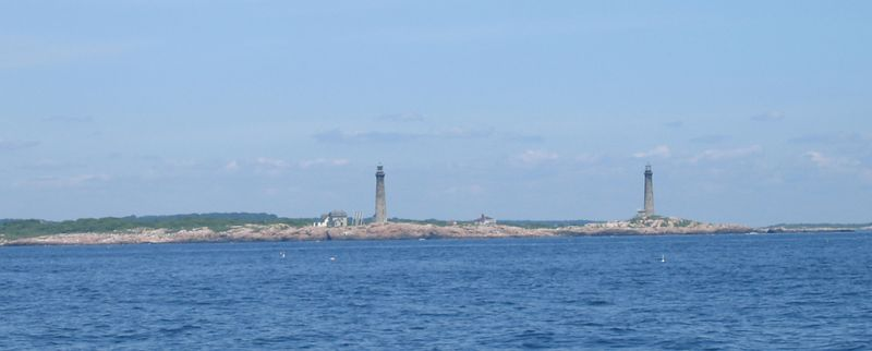 Twin lights of Thacher Island. Apparently, they used to build them in pairs, or occasionally triplets, and you were on the right heading when they lined up.