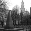 Benjamin Franklin Memorial with the Park Street Church behind it