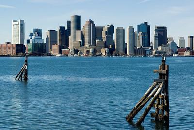 Boston and harbor pilings