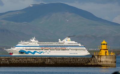 The cruise ship Aida in Reykjavik Harbor
