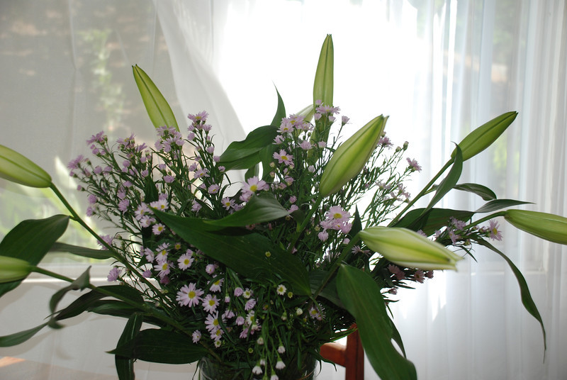 Flowers I bought at open market today, white Asiatic lilies and some purple little daisies.