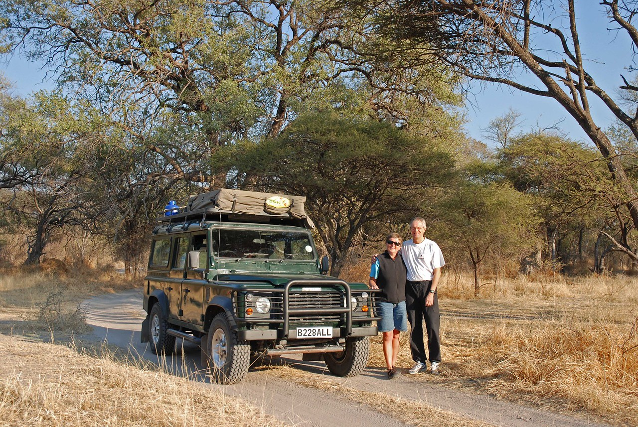 "← Robin and Robert at the beginning of their journey<br /> <br /> <br /> This trip report chronicles a twelve-day, self-drive journey through the Moremi Game Reserve and Chobe National Park in Botswana in August 2008 by two Canadians, Robin and Robert. The self-drive is followed by two days on the Chobe River in a houseboat. The report is written by Robin and credit for the photos must go to Robert.<br /> <br /> <br /> The report begins with our itinerary, which is accompanied by a map of Botswana on which our route is highlighted. <br /> <br /> <br /> The itinerary is followed by a list of trip highlights, where I have inserted a few appropriate photos. Note that you  may enlarge the photos by clicking on them.<br /> <br /> <br /> Following the highlights, there is a day to day journal, which is accompanied by many more photos.<br /> <br /> Trip planning: <br /> After much reading and online research, we drew up an itinerary and then contacted Safari Drive ( <a href=""http://www.safaridrive.com"">http://www.safaridrive.com</a>), specialist African operators based in the UK, who had been recommended in the Bradt Guide. ( <a href=""http://www.bradtguides.com"">http://www.bradtguides.com</a>) Safari Drive shared their expertise and offered advice, provided us with a fully equipped Land Rover, looked after our campsite and lodge bookings, arranged all land transfers and generally made things a whole lot easier. Bradt's recommendation was well founded we discovered. <br /> <br /> <br /> This Botswana segment of our six-week journey through southern Africa was preceded by four weeks in South Africa and Namibia. We flew into Cape Town from Calgary via Heathrow and self-drove through the Karoo to Upington and Kgalagadi Transfrontier Park. From there we drove to Fish River Canyon and Aus, and then on to Sossusvlei. After the dunes, we drove through the Namib Desert to Swakopmund and then on to Windhoek. From Windhoek, we drove into Botswana.<br /> You may view the trip report and photos from South Africa and Namibia at:<br /> <a href=""http://bert-and-bin.smugmug.com/gallery/7172232_XrT3Y/1/461053054_KcDbR"">http://bert-and-bin.smugmug.com/gallery/7172232_XrT3Y/1/461053054_KcDbR</a><br /> <br /> <br /> Enjoy! Robin"