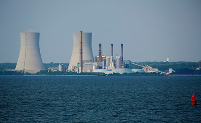 We turn south again at the Brayton Point coal-fired power plant.