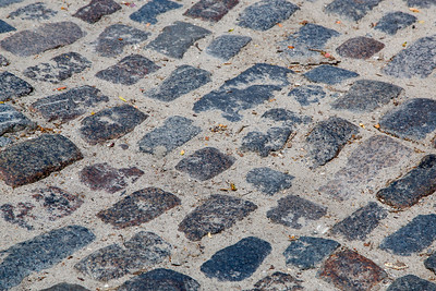Detail of a cobblestone street in Nantucket
