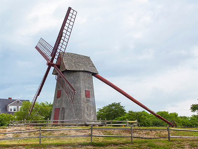 "Oldest operating windmill in the USA -- a ""turret"" mill.  The long tail is used to turn the turret to face the wind."