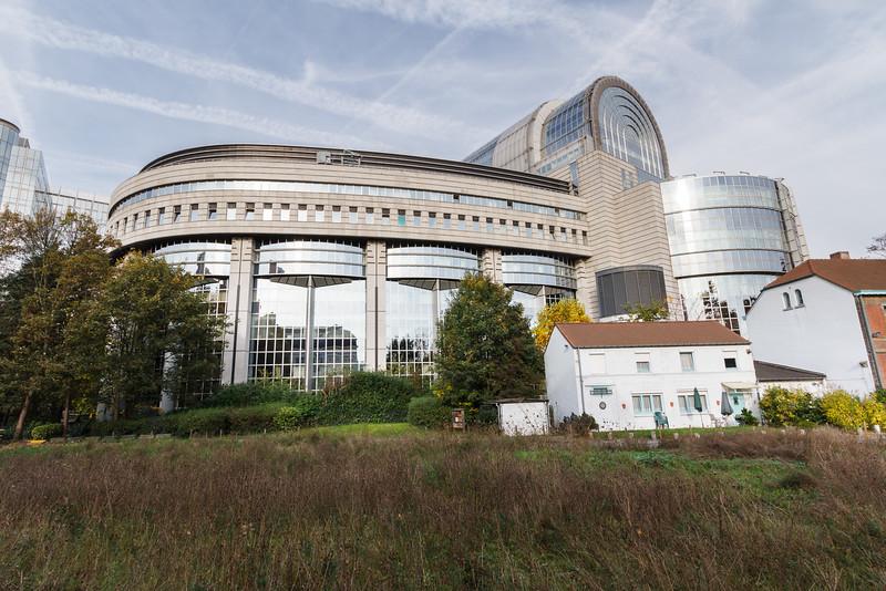 Das EU Parlament (Sitzungssaal) von außen