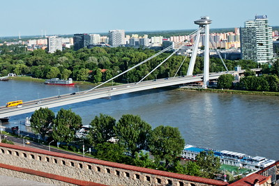 Most SNP. Bridge of the Slovak National Uprising (Most Slovenského národného povstania) or the UFO Bridge. The Most SNP is the world's longest bridge with one pylon and one cable-stayed plane.
