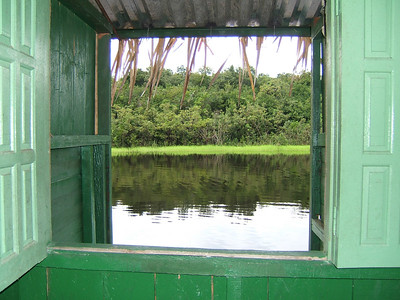 "Day 2 - Manaus - The view from our ""jungle lodge"" room. No mosquitos on the Rio Negro!"