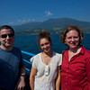 Gui, Anisa and LInda with Ilhabela in the background.