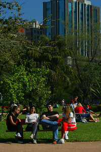 A family hanging out in the park.  It was a very people friendly area.