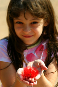 Anisa showing one of the flowers that was very prevalent in the area.