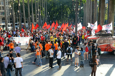 Demonstration on Praça da Sé in São Paulo, Brazil