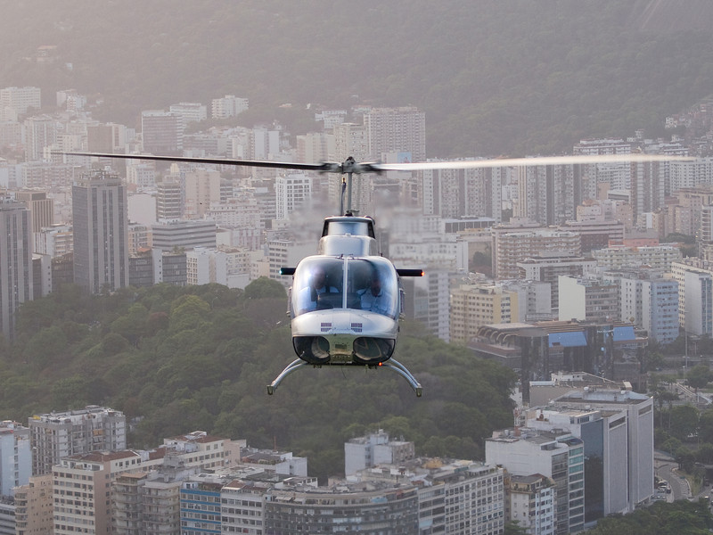 front view of helicopter in flight