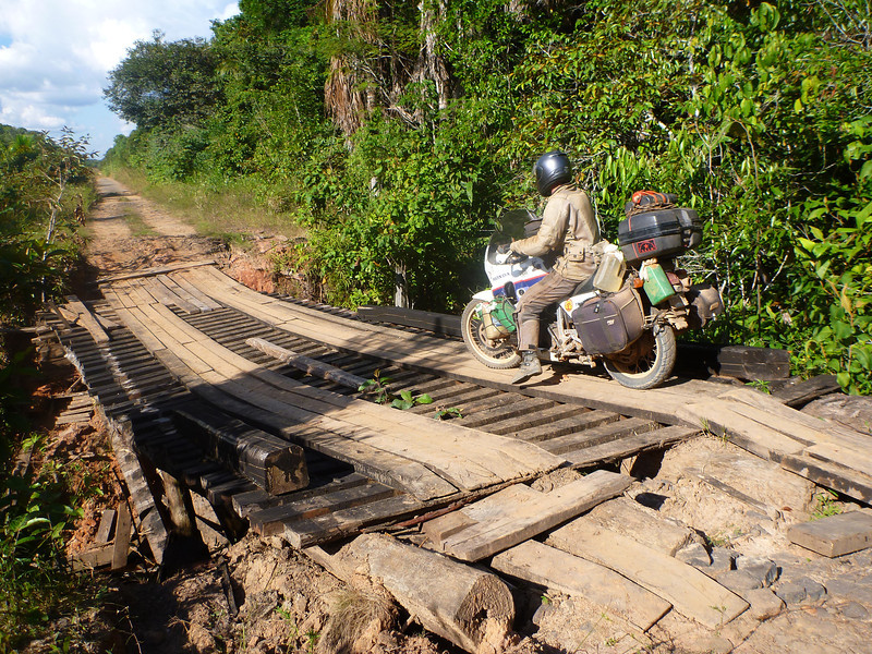 Mike going over the sketchy bridge on BR-319, Rodavia Fantasma, on the way to Manaus