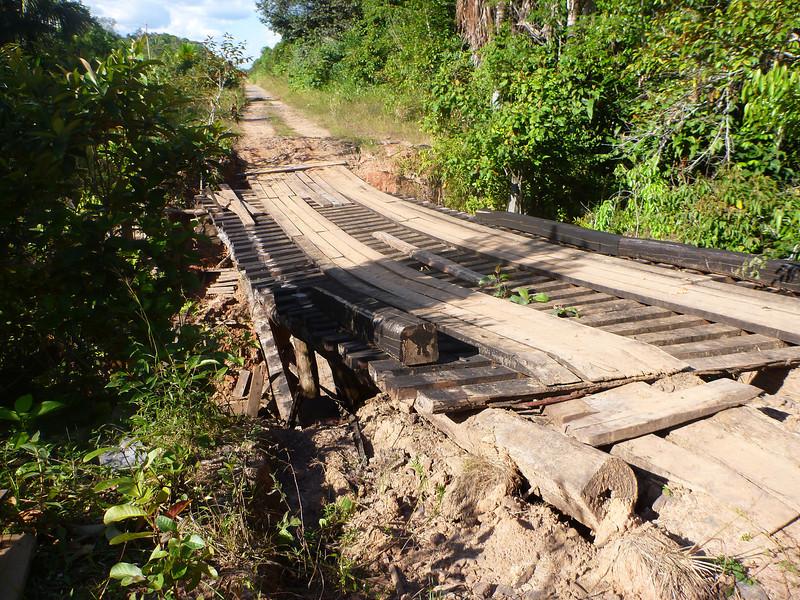 Sketchy bridge on BR-319, Rodavia Fantasma, on the way to Manaus