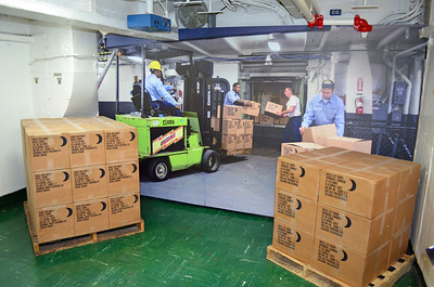 Mock Up of Supplies coming Aboard by Fork Lift