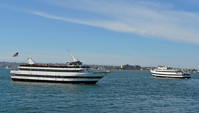 Two Modern Tour Boats Meeting