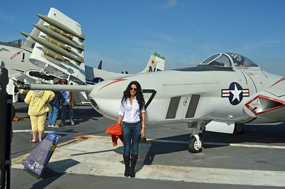 """Erica with the Photo Recon """"Cougar"""" aircraft"""