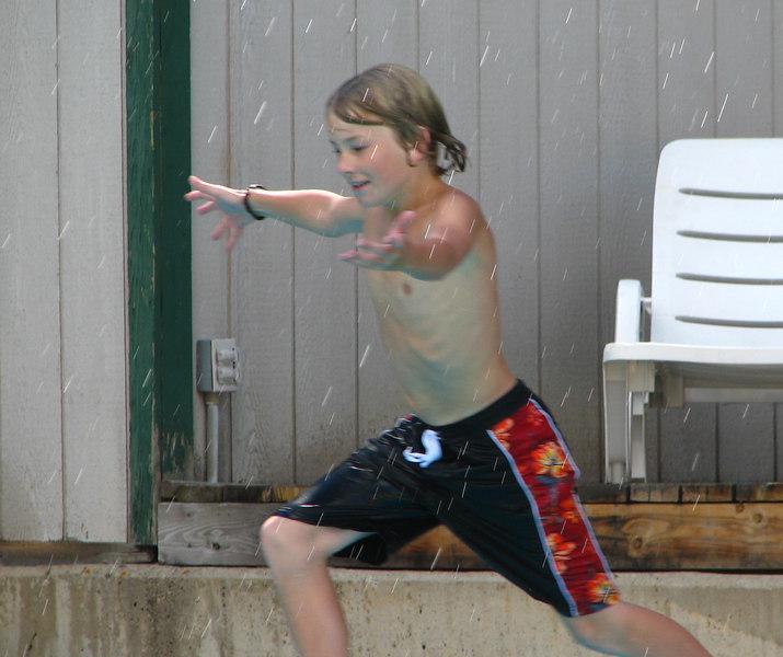Hunter at the pool.