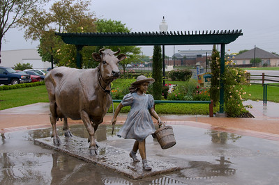 Outside the Blue Bell Plant.  Horrible conditions, so I used Photoshop to darken & blur the background and highlight the statue.