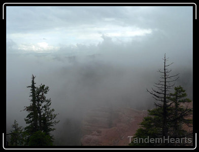 This was the scene just before we started on the Virgin River Rim Trail to Navajo Lake. It looks bad, but we cycled above the clouds for a while. The clouds kept the temperatures moderate, so we were happy.
