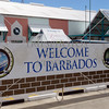 Welcome to Barbados sign outside the terminal building at the port of Bridgetown, Barbados.