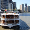 Paddlewheeler boat cruising the Brisbane river in Brisbane, Australia.