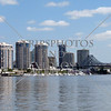 Buildings, the marina, and a bridge along the Brisbane river in Australia.