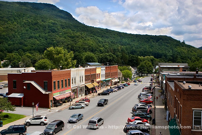 Bristol Main Street                      Main Street, seen here from Holley Hall clock tower with Deerleap Mountain in the background, is one block long.  Routes 116 and 17 change name from West Street at one end of the block, to Main Street, and to East Street at the other end.