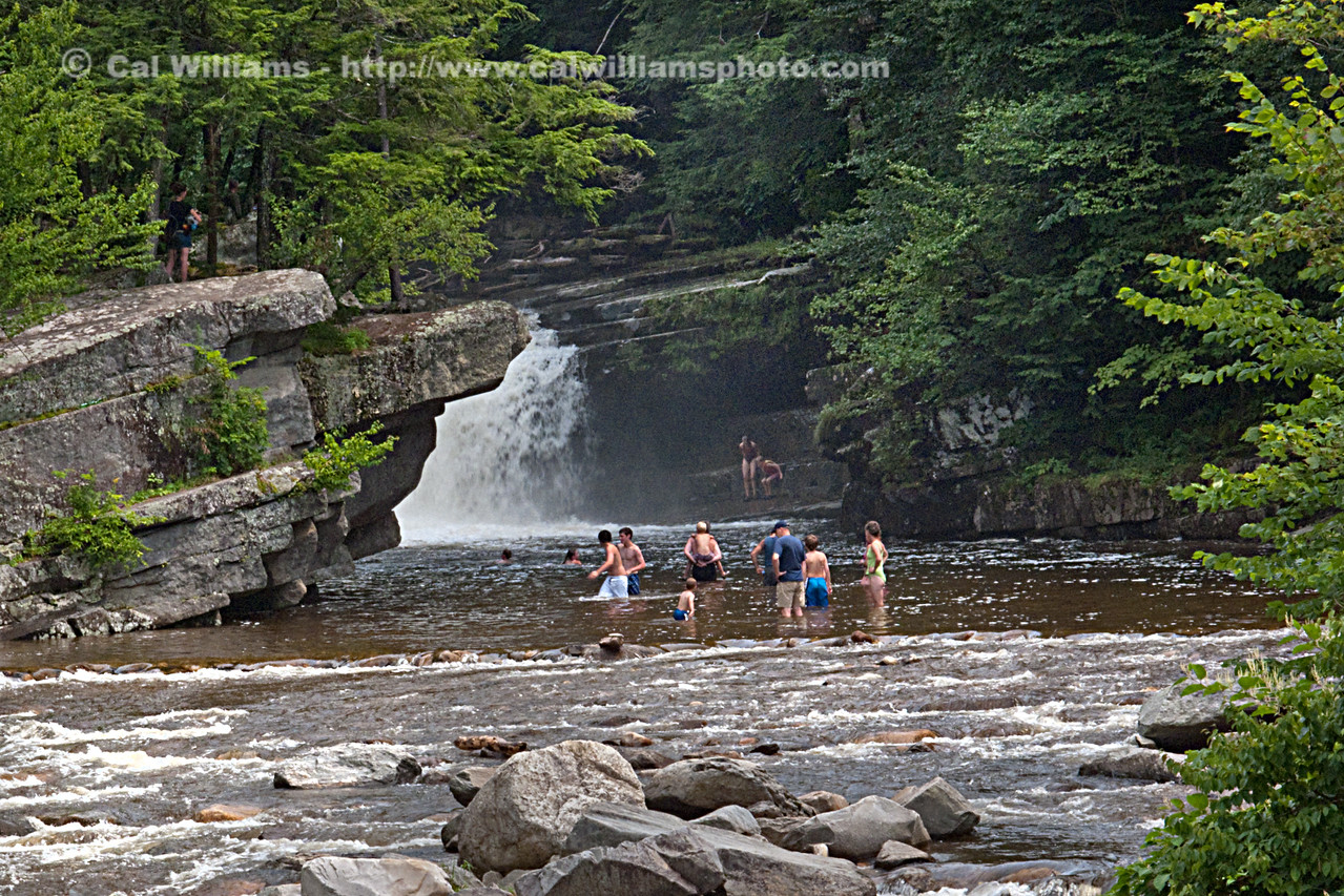 "<b> <center>   <font size = ""3"">     <font color = yellow>  Bartletts Falls       </font color=yellow>   </font size = ""3""> </center>    <font size = ""2"">     <font color=white>  <br> On hot summer days, families (and teens bold enough to dive from the rocks) gather at Bartletts Falls on the New Haven River.  Many young couples seek out smaller and more secluded pools.  In the heyday of water power, the falls was once the site of a large dam and several industries, as evidenced by remains of  foundations and conduits too large to have been washed away even by the mighty periodic floods this river suffers. <br>      </font color = white>   </font size = ""2"">"