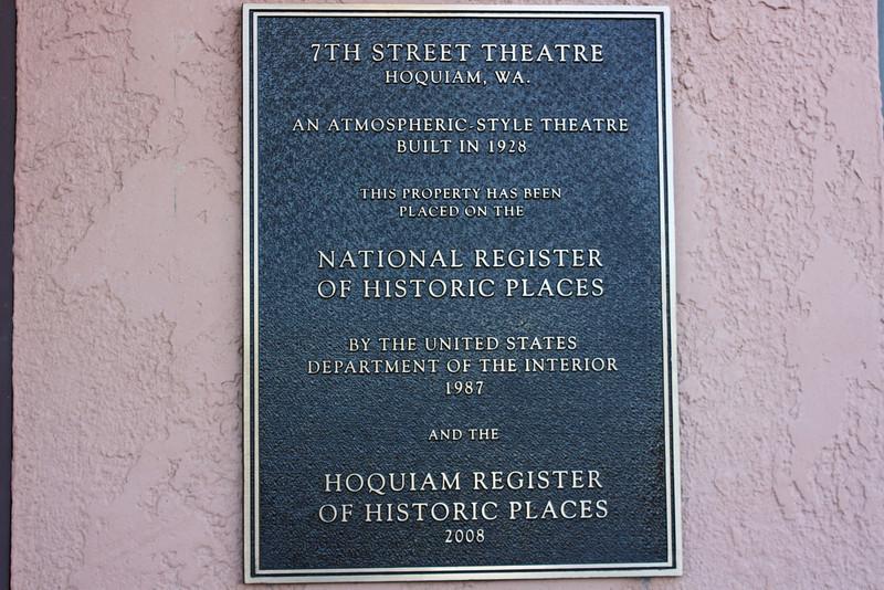 Official plaque, 7th Street Theatre, Hoquiam, WA.
