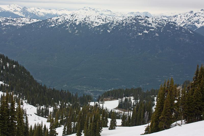 The view straight down Whistler mountain.