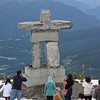 Inuksuk, on the restaurant patio on Whistler Mountain. Yes, people were eating out on the patio.
