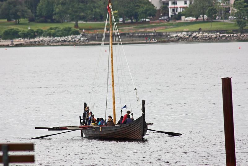 Oared ship landing in English Bay