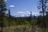 First glimpse of coast mountains from the Chicoltin plateau. Cariboo - Chilcotin country, near Williams Lake, BC, Canada