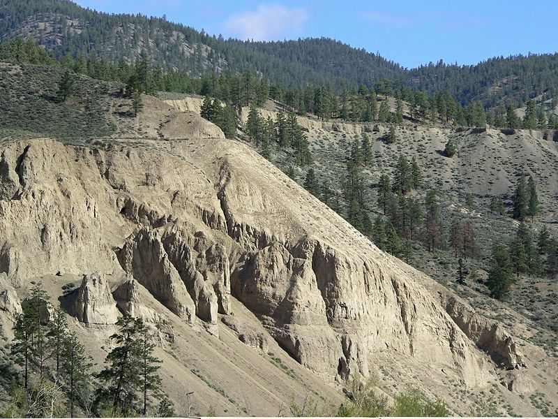 Day 1:  Typical terrain near Spences Bridge on Highway 1.  At the base of this hillside is the Thompson River.