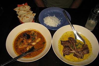Dinner at Vij's, a highly acclaimed creative-Indian restaurant. The lamb lollipops in cream curry (right) were to die for.