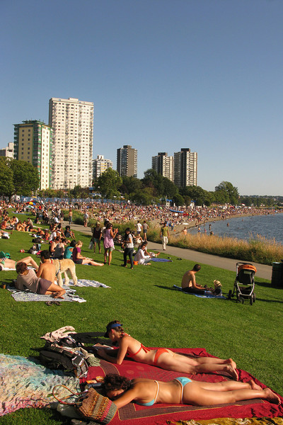 English Bay. Nicer, bigger beach off the park--it was pretty crowded late in the day for some fireworks extravaganza happening that night.