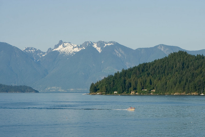 The official name is Gibson's Landing but everyone calls it Gibsons.  View back across Howe Sound towards Horseshoe Bay.