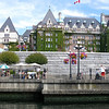 The vine-covered Empress Hotel, from the water taxi in Victoria's inner harbour