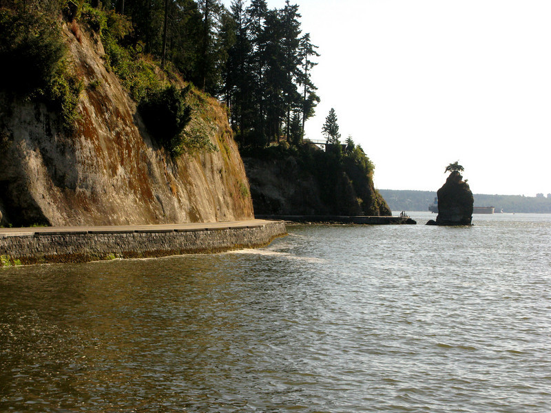 Curves ahead: approaching Siwash Rock, Stanley Park