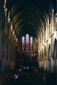Looking down the aisle inside St. Patrick's Cathedral