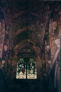 Inside looking up at the ceiling in Rosslyn Chapel - Scotland