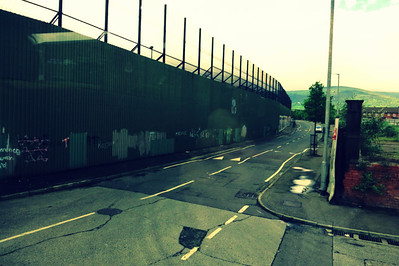 Belfast's Peace Wall. Though not really necessary now, the people feel safer with it still in place.