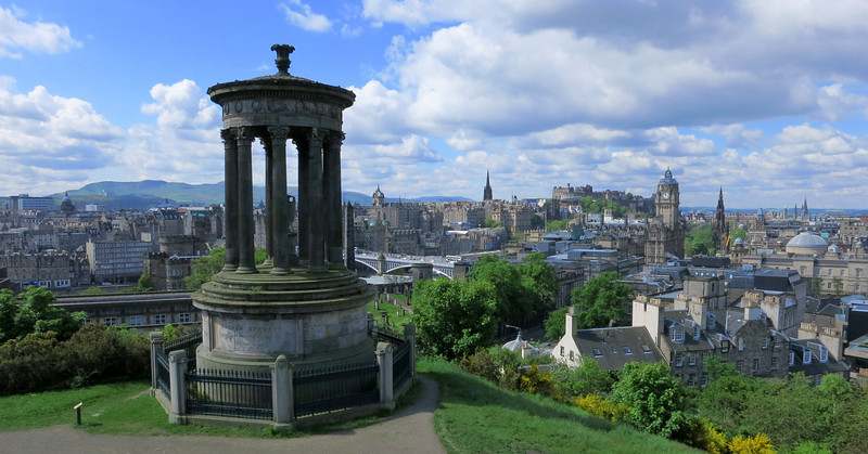 View from Calton Hill, Stewart Monument in foreground